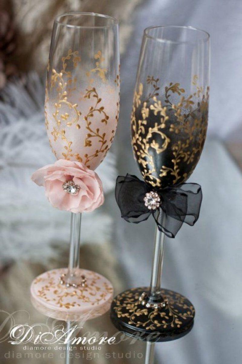 20 ideias para festa de bodas de ouro - decoração das taças