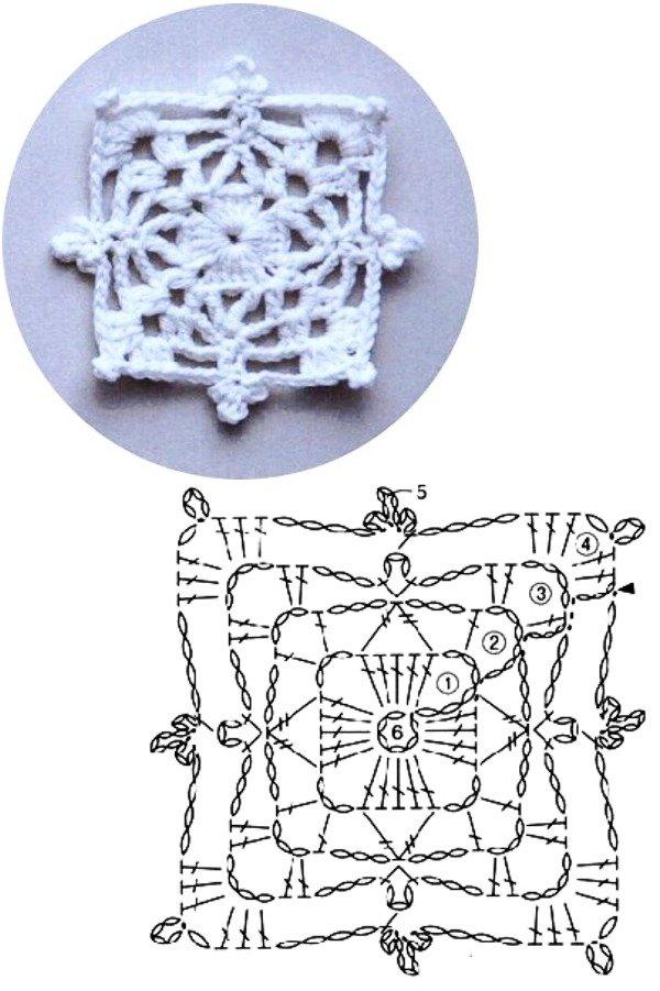 100 Quadrados de crochê com gráfico parte 1