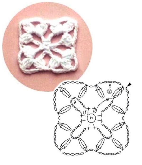 100 Quadrados de Crochê com Gráfico Parte 2