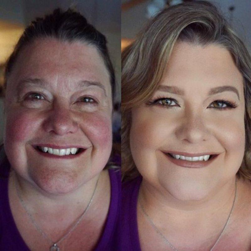 Maquiagem na terceira idade - Antes e Depois