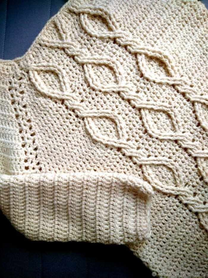 O crochê com cara de tricô - blusa com trança de crochê