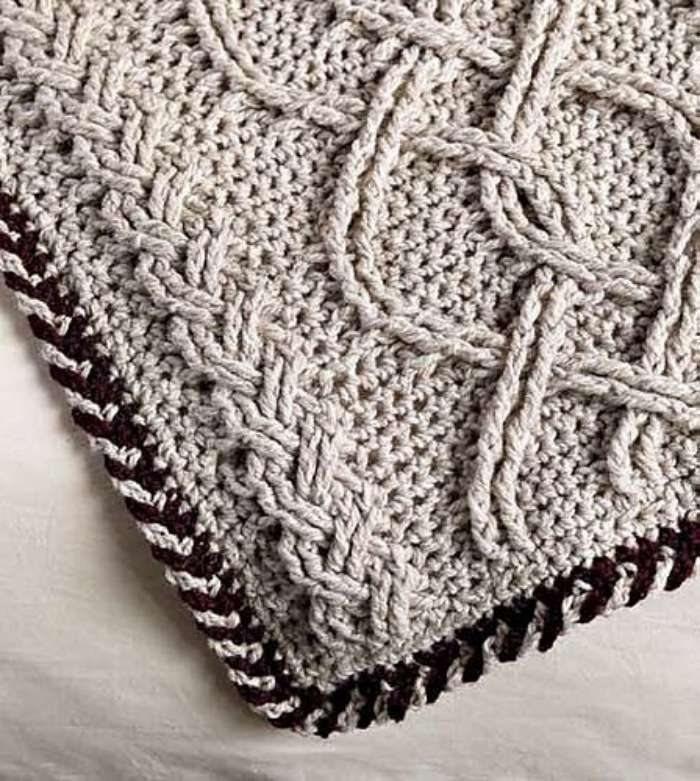 O crochê com cara de tricô - manta com trança de crochê