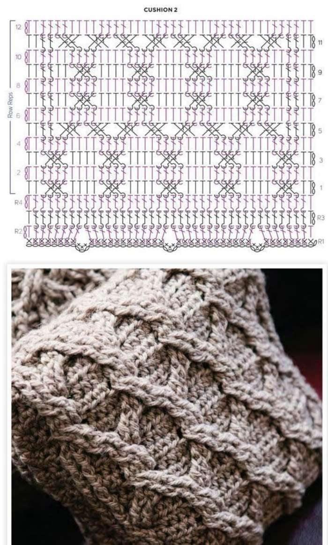 O crochê com cara de tricô  -  gráfico de trança de crochê