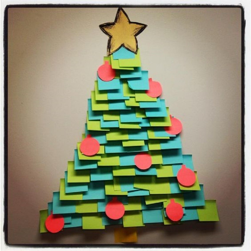 Árvore de natal criativa de post-it - xstmas tree
