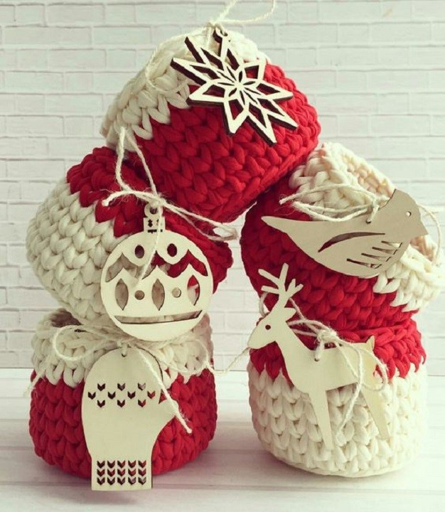 Lindos cestos de Natal com fio de malha - para presentear