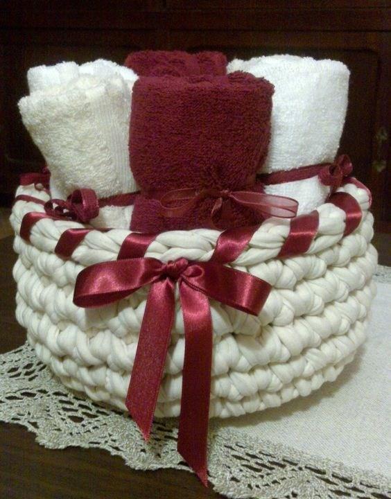 DIY - Cestos de Natal com fio de malha - kit presente