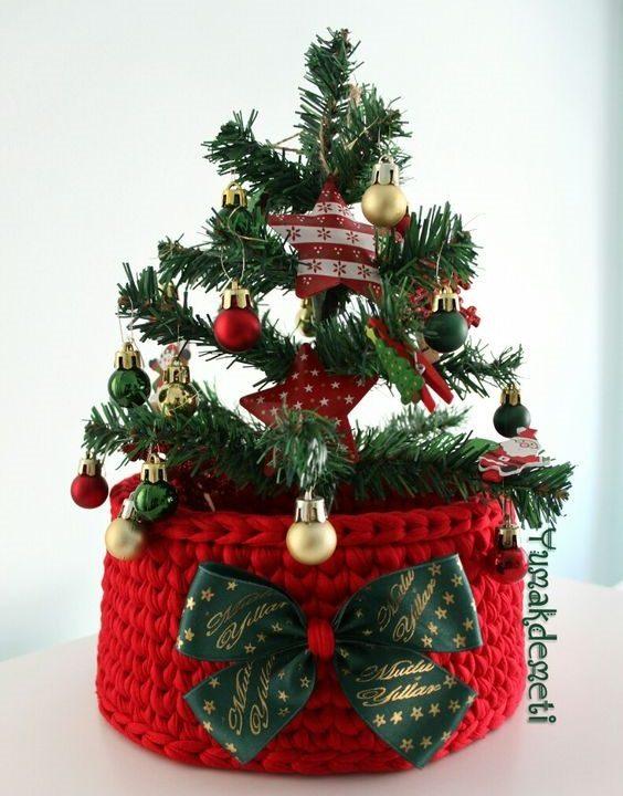 Cesto de Natal com fio de malha - DIY