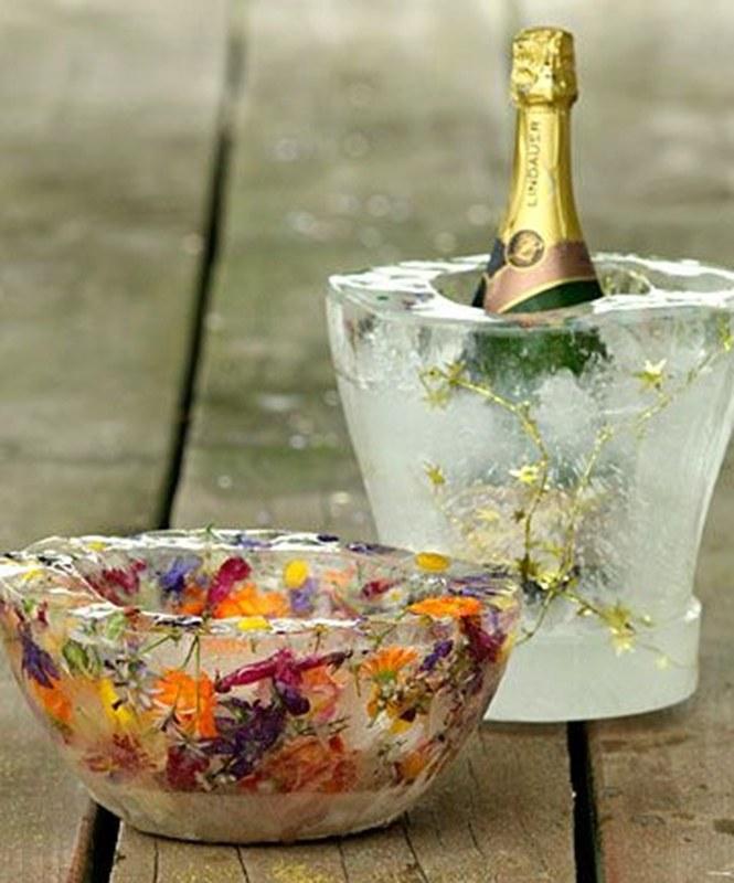Balde de gelo com flores - DIY - decoração de mesa de Natal