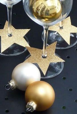 DIY - decoração de mesa de Natal - estrelas douradas