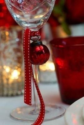 Taças- DIY - decoração de mesa de Natal