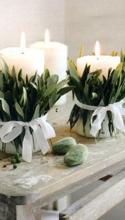 Velas decoradas - DIY - decoração de mesa de Natal