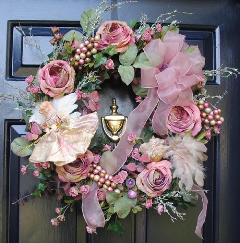 18 ideias para enfeitar - Guirlanda de Natal de flores- Floral Christmas wreaths