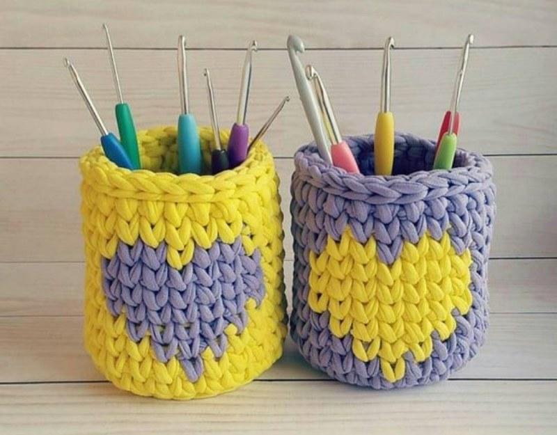 Para presentear : cestos de fio de malha