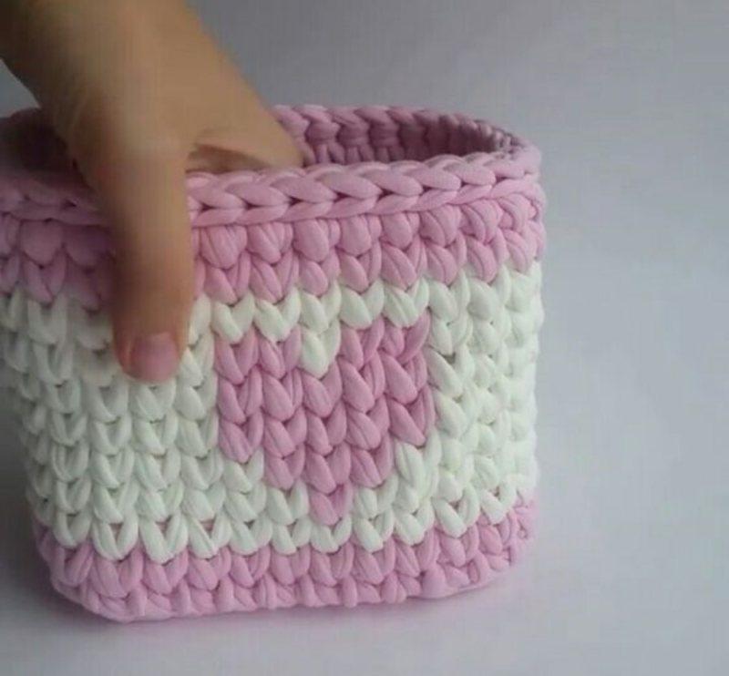 Para presentear : ideias de cestos de fio de malha