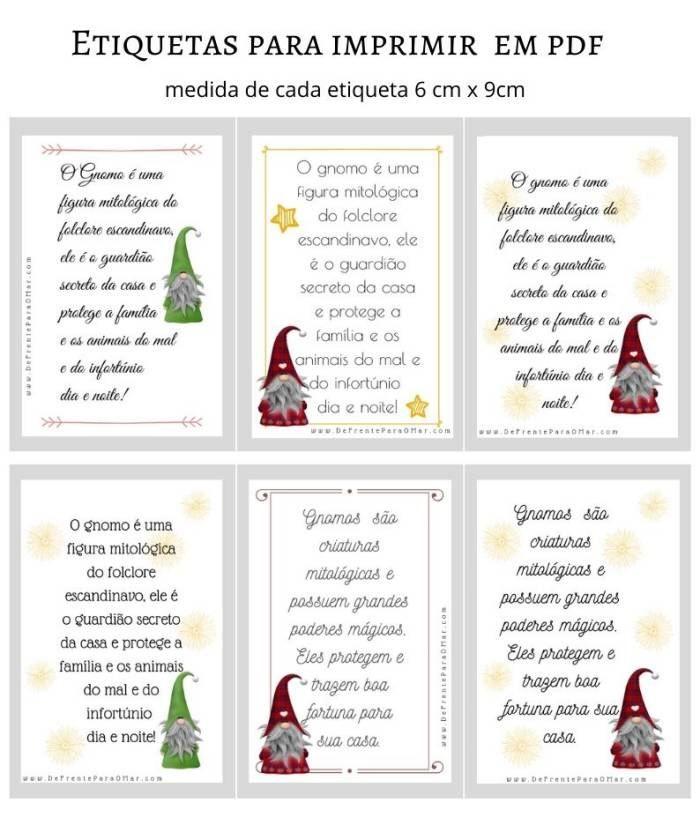 Etiquetas sobre gnomo para imprimir