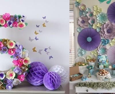 DIY- uma linda decoração com flores gigantes para festas de aniversário