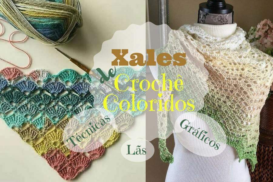 xales de crochê coloridos