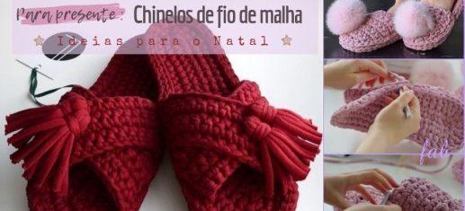 DIY chinelos de fio de malha