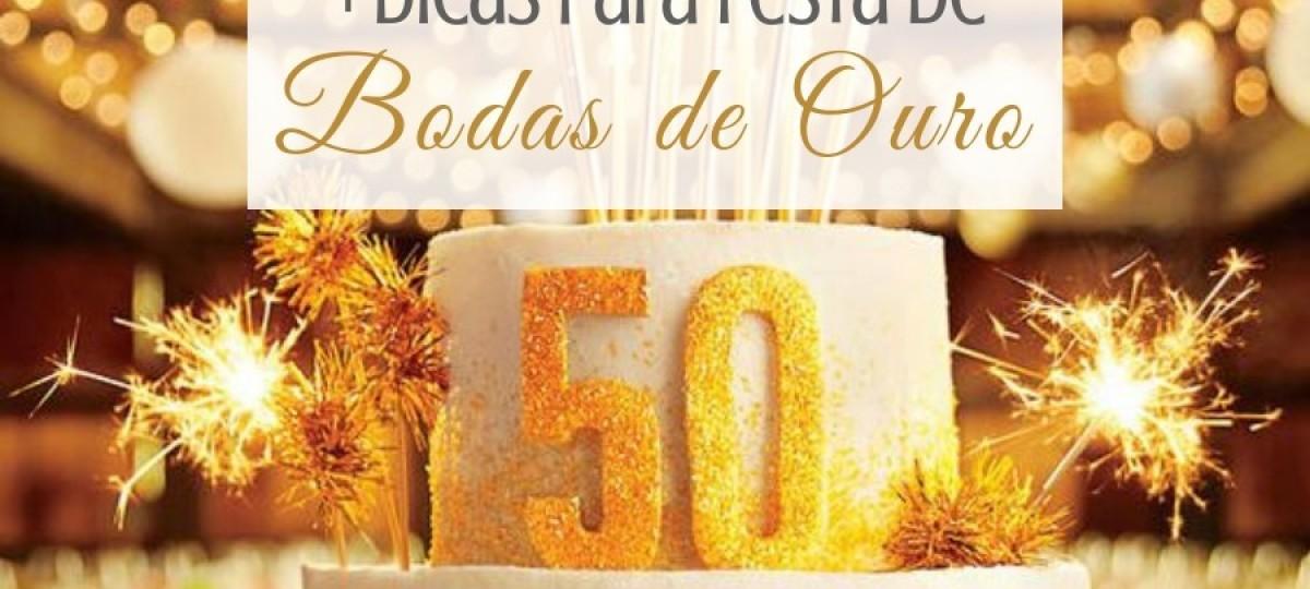 Bodas de Ouro: decoração do bolo, taças, lembrancinhas