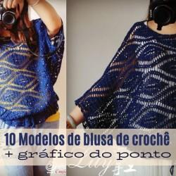 10 modelos de blusa de crochê com gráfico do ponto