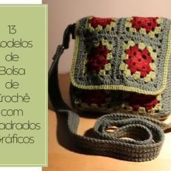 Bolsa de Crochê com Quadrados + Gráfico