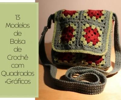 13 Modelos de Bolsa de Crochê com Quadrados +Gráficos