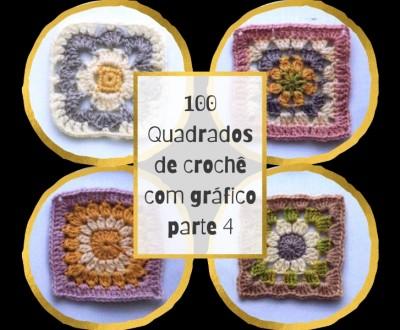 100 Quadrados de Crochê cm Gráfico Parte 4